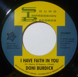 DONI BURDICK - I have faith in you / Bari track - 7inch (SP)