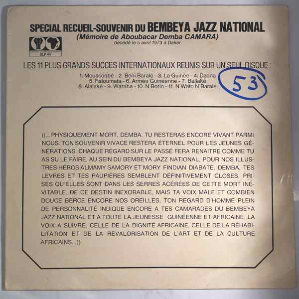 BEMBEYA JAZZ NATIONAL - Special recueil souvenirs - LP