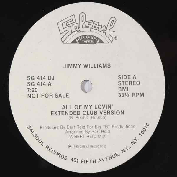 JIMMY WILLIAMS - All of my lovin' - 12 inch 45 rpm