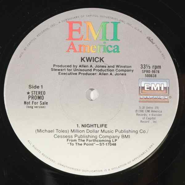 KWICK - Nightlife - 12 inch 45 rpm