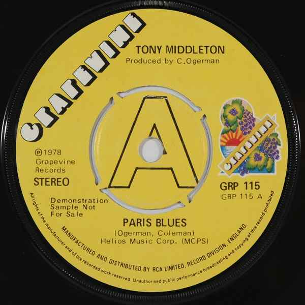 TONY MIDDLETON - Paris blues - 7inch (SP)