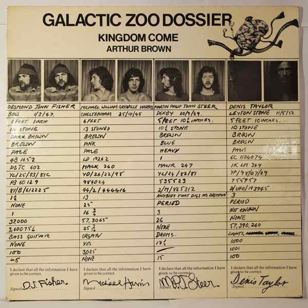 Kingdom Come Arthur Brown Galactic Zoo Dossier