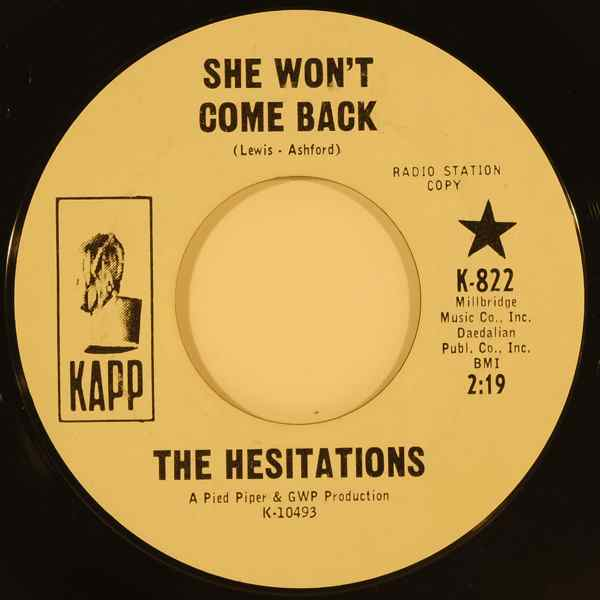 THE HESITATIONS - She won't come back / I'll be right there - 7inch (SP)