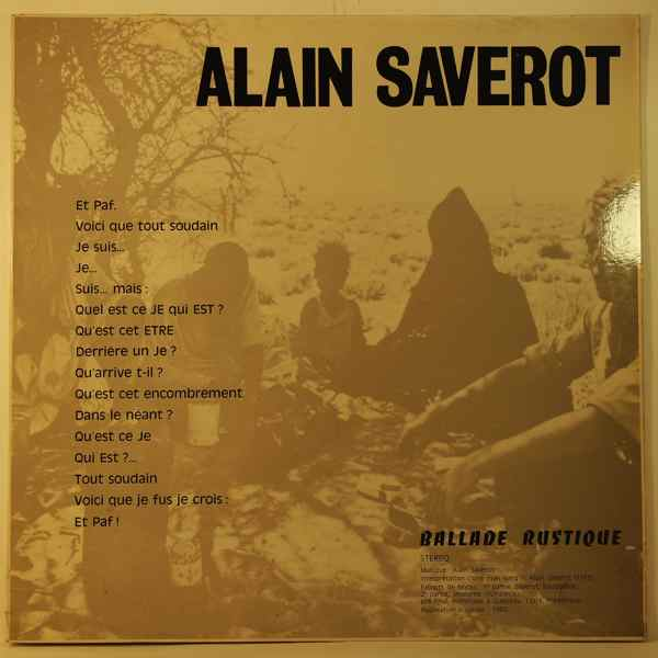 ALAIN SAVEROT - Ballade Rustique - 33T