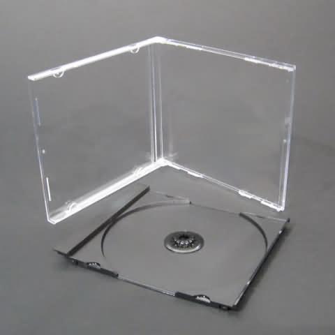 BOITIER CD CRISTAL SIMPLE 1 CD - PLATEAU NOIR - 10 x BOITIER CD CRISTAL SIMPLE 1 CD - PLATEAU (TRAY) NOIR - Protection